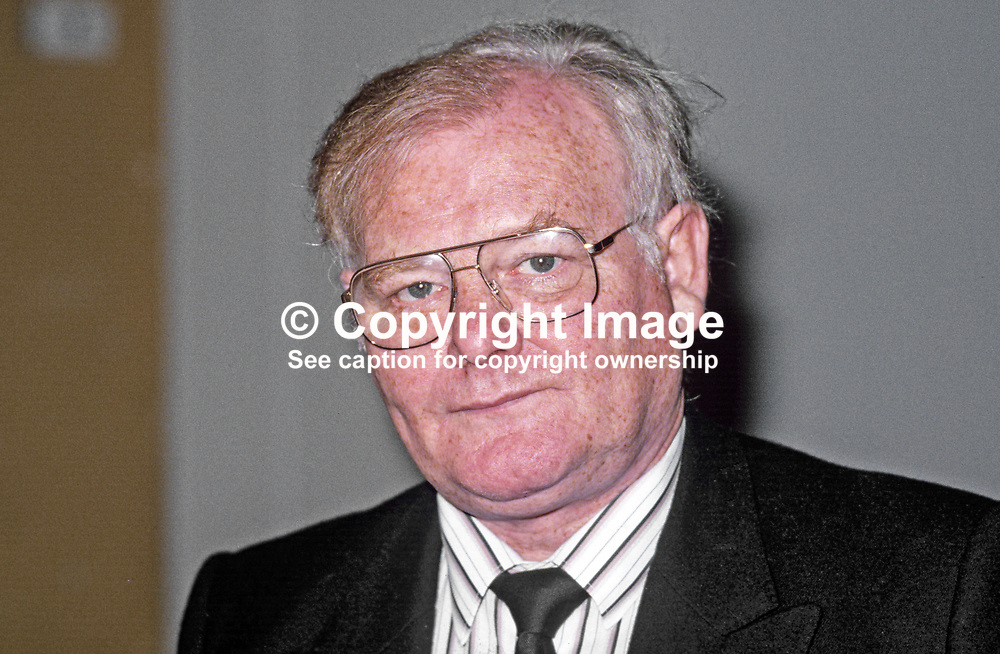 Brian Nicholson, chairman, Transport & General Workers Union, T&GWU, 19870917BN.<br /> <br /> Copyright Image from Victor Patterson, Belfast, UK<br /> <br /> t: +44 28 9066 1296 (from Rep of Ireland 048 9066 1296)<br /> m: +44 7802 353836<br /> e: victorpattersonbelfast@gmail.com<br /> <br /> www.images4media.com<br /> <br /> Please see my full Terms and Conditions of Use at https://www.images4media.com/p/terms-conditions - it is IMPORTANT that you familiarise yourself with them.<br /> <br /> Images used online incur an additional cost. This cost should be agreed in writing in advance. Online images must be visibly watermarked i.e. © Victor Patterson or that of the named photographer within the body of the image. The original metadata must not be deleted from images used online.<br /> <br /> This image is only available for the use of the download recipient i.e. television station, newspaper, magazine, book publisher, etc, and must not be passed on to a third party. It is also downloaded on condition that each and every usage is notified within 7 days to victorpattersonbelfast@gmail.com.<br /> <br /> The right of Victor Patterson (or the named photographer) to be identified as the author is asserted in accordance with The Copyright Designs And Patents Act (1988). All moral rights are asserted.