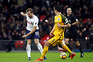 Harry Kane of Tottenham Hotspur (L) plays a pass into the penalty area. Premier league match, Tottenham Hotspur v Brighton & Hove Albion at Wembley Stadium in London on Wednesday 13th December 2017.<br /> pic by Steffan Bowen, Andrew Orchard sports photography.