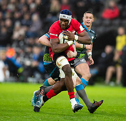 Joel Kpoku of Saracens<br /> <br /> Photographer Simon King/Replay Images<br /> <br /> European Rugby Champions Cup Round 5 - Ospreys v Saracens - Saturday 11th January 2020 - Liberty Stadium - Swansea<br /> <br /> World Copyright © Replay Images . All rights reserved. info@replayimages.co.uk - http://replayimages.co.uk