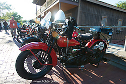 Vinnie Grasser's 1930 Harley-Davidson VL at the Old Town Museum in Burlington, Colorado for the hosted dinner stop during Stage 8 of the Motorcycle Cannonball Cross-Country Endurance Run, which on this day ran from Junction City, KS to Burlington, CO., USA. Saturday, September 13, 2014.  Photography ©2014 Michael Lichter.