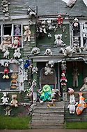 A house covered with stuffed animals, part of the Heidelberg Project, a folk art installation taking up over two city blocks in Detroit started by artist Tyree Guyton. The Heidelberg Project an outdoor art installation in Detroit, Michigan started in 1986 has become a tourist attraction.