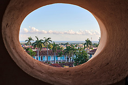 Plaza Mayor seen from an oval window, Trinidad, Cuba