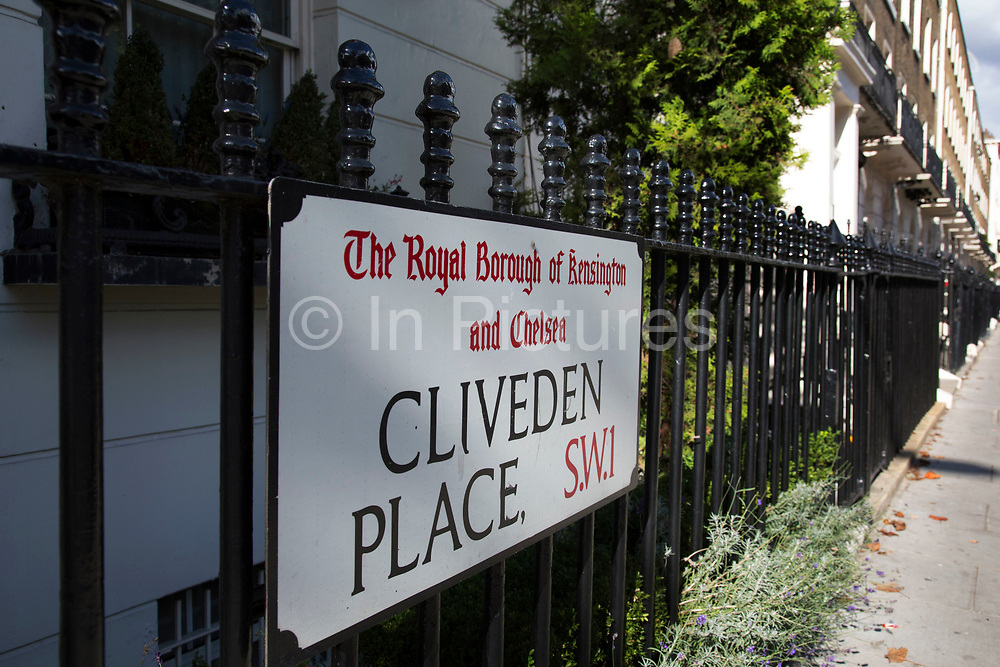 Sign for Cliveden Place in Belgravia London, United Kingdom. Belgravia is a district in West London in the City of Westminster and the Royal Borough of Kensington and Chelsea. It is noted for its very expensive residential properties and is one of the wealthiest districts in the world. Much of it, known as the Grosvenor Estate, is still owned by a family property company, the Duke of Westminsters Grosvenor Group.