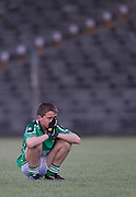 Donaghmore/Ashbourne vs Skryne u-12 football league final at Pairc Tailteann_11/06/10.Donaghmore/Ashbourne forward Liam McDonnell sits dejected at the final whistle after loosing the u-12 division 1 final to Skryne.Photo: David Mullen /www.cyberimages.net