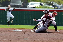 22 April 2017:  Alex Caliva puts the tag on Madison Jones at 2nd base during aMissouri Valley Conference (MVC) women's softball game between the Missouri State Bears and the Illinois State Redbirds on Marian Kneer Field in Normal IL