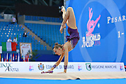 Staniouta Melitina during qualifying clubs in Pesaro World Cup 02 April 2016. Melitina is an Belarusian rhythmic gymnast, she was born in 15 November 1993 Minsk. She is a three time World All-around bronze medalist in 2015, 2013, 2010 retired from rhythmic gymnastics in December 2016.