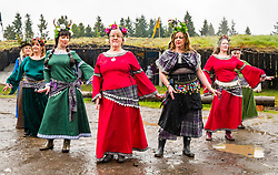 Pictured: Treubh Dannsa or Dance Tribe at Duncarron Medieval Village Opening. Carron Valley Forest, Lanarkshire, 18 May 2019. In authentic Scottish weather and mud, The Clanranald Trust opens a full-scale replica of an early Medieval Fortified Village typical of a Scottish Clan Chief's residence. The open air museum includes traditional buildings such as round houses, a great hall, and tower. The event features music bands and traditional dance.<br /> Sally Anderson | EdinburghElitemedia.co.uk