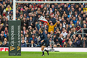 Twickenham, England, 7th March 2020,  during the, Assistant referee, Romain POITE, raises the flag to signal a successful conversation by, Owen FARRELL, during the Guinness Six Nations, International Rugby, England vs Wales, RFU Stadium, United Kingdom, [Mandatory Credit; Peter SPURRIER/Intersport Images]