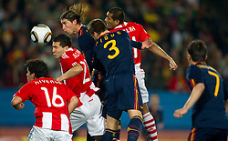 Antolin Alcaraz of Paraguay vs Sergio Ramos of Spain during the  2010 FIFA World Cup South Africa Quarter Finals football match between Paraguay and Spain on July 03, 2010 at Ellis Park Stadium in Johannesburg. (Photo by Vid Ponikvar / Sportida)