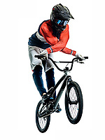 one caucasian BMX racer jumping  in studio silhouette  isolated on white background