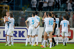 Players of HNK Rijeka after football match between HNK Rijeka and HNK Hajduk Split in 11th Round of Prva Hrvaska Nogometna Liga MaxTV 2013/14 on September 28, 2013 in Stadion Kantrida, Rijeka, Croatia. (Photo By Urban Urbanc / Sportida.com)