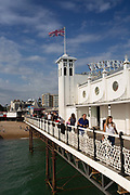 Brighton Pier on the 19th July 2018 in Brighton in the United Kingdom. The Brighton Palace Pier, commonly known as Brighton Pier or the Palace Pier is a Grade II* listed pleasure pier in Brighton, England, located in the city centre opposite the Old Steine.