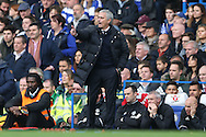 Jose Mourinho, the Manchester United manager shouting at his players from the dugout. Premier league match, Chelsea v Manchester Utd at Stamford Bridge in London on Sunday 23rd October 2016.<br /> pic by John Patrick Fletcher, Andrew Orchard sports photography.