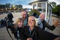The crazy bunch with Sharron Brinkman, Jon Stroud, Leanjo De Koster and Dirk Caremans<br /> CDIO5 Grand Prix Freestyle <br /> CHIO Rotterdam 2014<br /> © Dirk Caremans