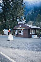 Coffee and lure shop along the Wilson River, near Tillamook, Oregon.