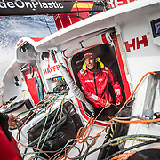 Leg 4, Melbourne to Hong Kong, day 13 on board MAPFRE, Blair Tuke in the hatch talking with Guillermo Altadill. Photo by Ugo Fonolla/Volvo Ocean Race. 13 January, 2018.