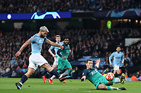 Football - 2018 / 2019 UEFA Champions League - Quarter-Final, Second Leg: Manchester City (0) vs. Tottenham Hotspur (1)<br /> <br /> Sergio Aguero of Manchester City scores his sides fourth goal to make the score 4-2, at The Etihad.<br /> <br /> COLORSPORT/PAUL GREENWOOD
