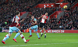 Burnley's Sam Vokes scores his side's first goal of the game during the Premier League match at St Mary's Stadium, Southampton.