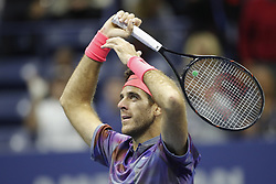 September 6, 2017 - New York City, New York, United States - Juan Martin del Potro of Argentina celebrates after defeating Roger Federer of Switzerland in their Men's Singles Quarterfinal match on Day Ten of the 2017 US Open at the USTA Billie Jean King National Tennis Center on September 6, 2017 in the Flushing neighborhood of the Queens borough of New York City.ity. (Credit Image: © Foto Olimpik/NurPhoto via ZUMA Press)
