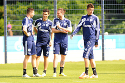24.04.2014, Veltins Arena, Gelsenkirchen, GER, 1. FBL, Training Schalke 04, im Bild V.l.n.r. Julian Draxler, Kaan Ayhan, Tim Hoogland und Roman Neustaedter ( alle Schalke 04 ) gut gelaunt beim Training. // during a Trainingsession of German Bundesliga Club Schalke 04 at the Veltins Arena in Gelsenkirchen, Germany on 2014/04/24. EXPA Pictures © 2014, PhotoCredit: EXPA/ Eibner-Pressefoto/ Thienel<br /> <br /> *****ATTENTION - OUT of GER*****