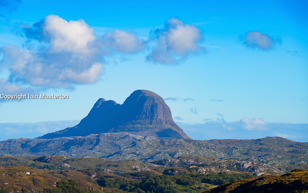 View of Suilven mountain in Assynt Coigach region of Sutherland , north west Scotland UK