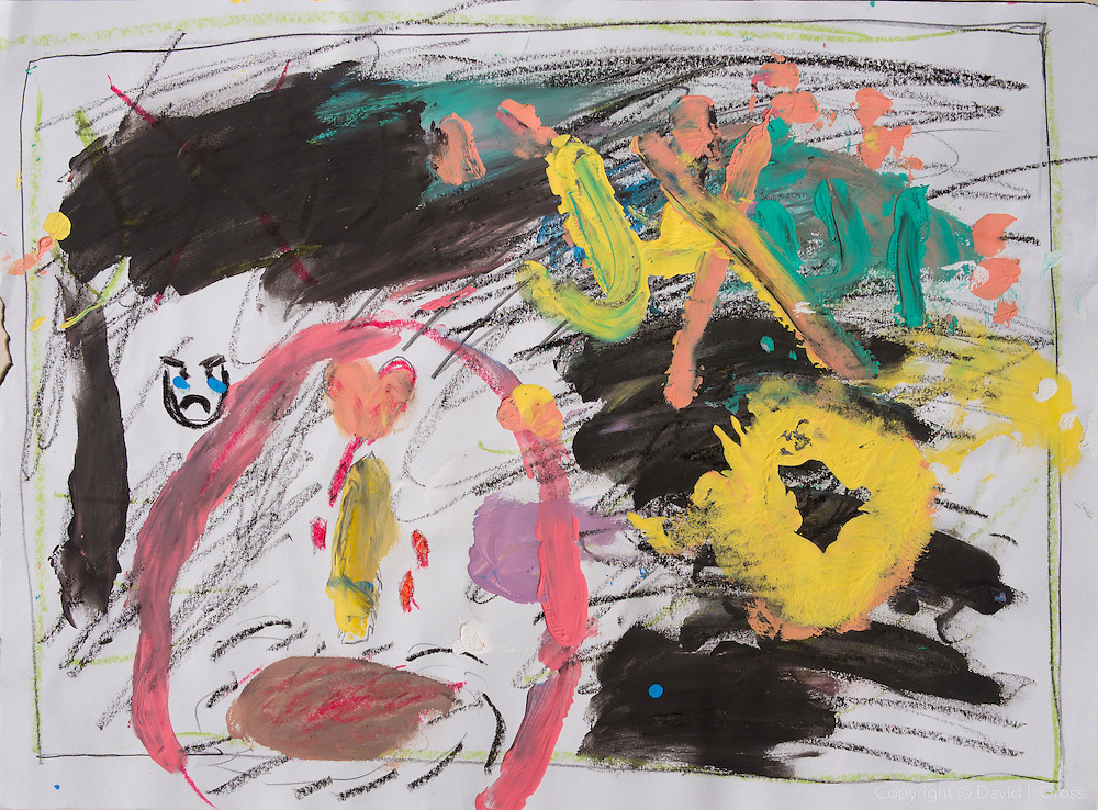 """A drawing of """"bad things"""" by a Syrian refugee child in the Free Syria School."""