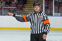 KELOWNA, CANADA - SEPTEMBER 2: A referee on September 2, 2017 at Prospera Place in Kelowna, British Columbia, Canada.  (Photo by Marissa Baecker/Shoot the Breeze)  *** Local Caption ***