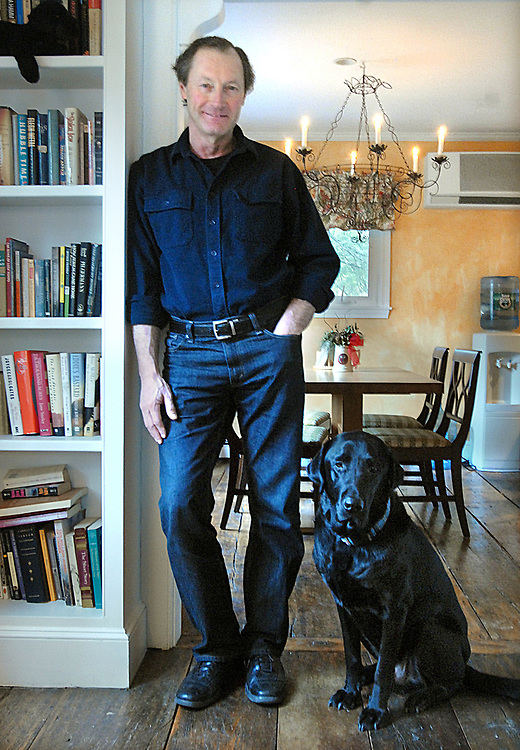 3/22/10 Michael White<br /> ML0600A<br /> Author Michael White at home in Guilford with his dog Henry. Photo by Mara Lavitt