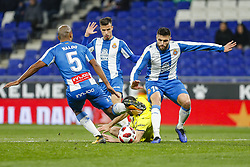 January 17, 2019 - Barcelona, Catalonia, Spain - Alfonso Pedraza (16) of Villarreal CF, David Lopez (15), Naldo (5) and Javi Puado (20) of RCD Espanyol during the match RCD Espanyol v Villarreal CF, for the round of 16 of the Copa del Rey played at Camp Nou  on 17th January 2019 in Barcelona, Spain. (Credit Image: © Mikel Trigueros/NurPhoto via ZUMA Press)