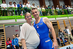 Farewell of Slovenian athlete Aljaz Pegan (at picture with his wife Nina) at his last competition in his sports career during Slovenian Gymastics Cup 2013 on June 2, 2013 in GIB arena, Ljubljana, Slovenia. (Photo By Vid Ponikvar / Sportida)