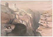 Convent of St. Saba (Mar Saba The Holy Lavra of Saint Sabbas) Color lithograph by David Roberts (1796-1864). An engraving reprint by Louis Haghe was published in a the book 'The Holy Land, Syria, Idumea, Arabia, Egypt and Nubia. in 1855 by D. Appleton & Co., 346 & 348 Broadway in New York.