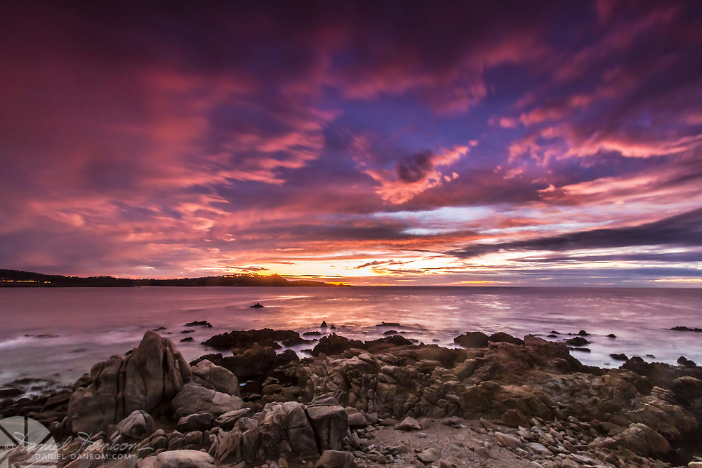 Looking toward Pt. Lobos from Carmel by the Sea, Scenic Drive, with a brilliaint sunset sky.