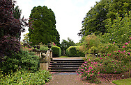 A moss covered stairway and balustrade with decorative urns surrounded by Rosa 'Cerise Bouquet' at Newby Hall, Ripon, Yorkshire, UK