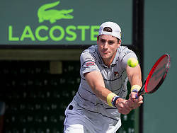 March 28, 2018 - Key Biscayne, Florida, United States - John Isner, from the USA, in action during his fourth round match against Hyeon Chung, from Korea. Isner defeated Chung 6-1, 6-4 for a place in the Miami Open Semifinals  in Miami, on March 28, 2018. (Credit Image: © Manuel Mazzanti/NurPhoto via ZUMA Press)