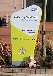 A teddy and flowrs left outside Alder Hey Children's Hospital in Liverpool, following the death of 23-month-old, Alfie Evans, who was being treated at the hospital.