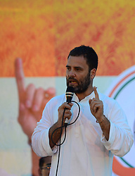 September 15, 2016 - Kaushambi, India - Indian Congress party's vice president and leader Rahul Gandhi addresses a public meeting, popularly known as Khaat Panchayats, where organizers make arrangement of thousands of Khaats (cots) for the people attending the meetings to sit on them, while listening to their leader, in tenwa village , in Kaushambi on September 15, 2016.Khaat (rustic Hindi word for cot) is symbol of villages in general and of farmers in particular. By naming the public meetings as Khaat Panchayats arranging khaats during the meetings, a strategy has been drawn to connect Rahul and Congress with the farmers of Uttar Pradesh and thus reap the electoral harvests during the next assambly elections. (Credit Image: © Ritesh Shukla/NurPhoto via ZUMA Press)