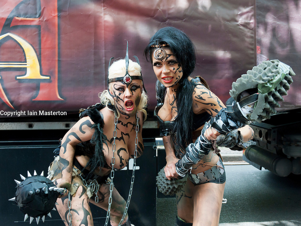 Two young women posing at Christopher Street Day Parade in Berlin Germany 2011