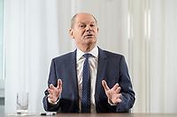 28 AUG 2020, BERLIN/GERMANY:<br /> Olaf Scholz, SPD, Bundesfinanzminister, waehrend einem Interview, Bundesministerium der Finanzen<br /> IMAGE: 20200828-01-023