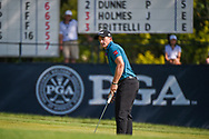 Paul Dunne (IRE) watches his putt on 9 during 2nd round of the 100th PGA Championship at Bellerive Country Club, St. Louis, Missouri. 8/11/2018.<br /> Picture: Golffile   Ken Murray<br /> <br /> All photo usage must carry mandatory copyright credit (© Golffile   Ken Murray)