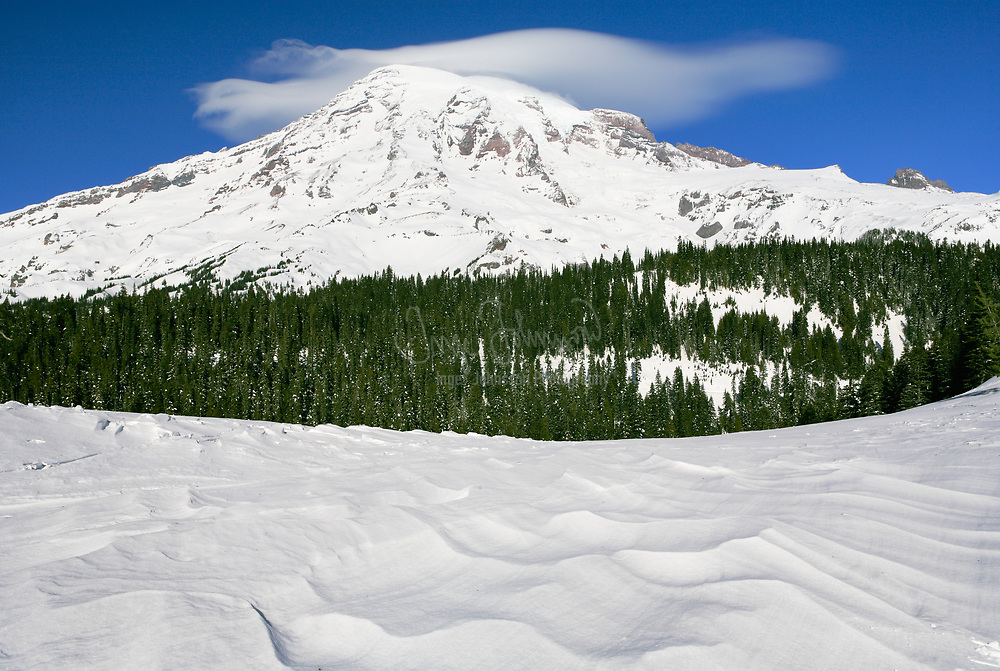 Mt Rainier and waves in the snow