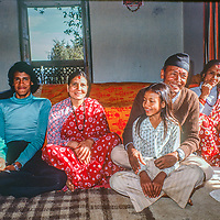 Kalika Risal, a Chettri farmer in the Kathmandu Valley, Nepal, poses with his family: Shanat Kumar, Bimola, Bovitra and Sita.