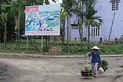 © Licensed to London News Pictures. 04/01/2012. A woman carries vegetables in front of a government poster on Cam Kim Island, Vietnam. Photo credit : Stephen Simpson/LNP