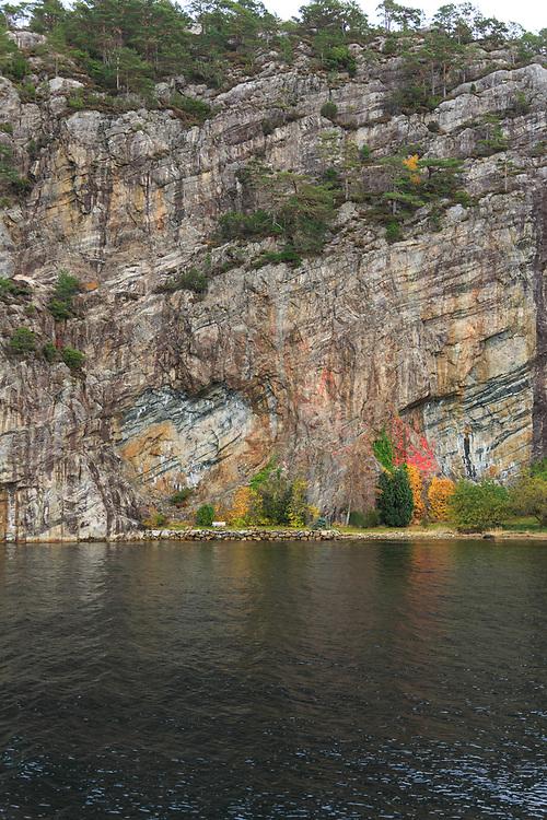 Heart in rock in Lysefjord, Norway.