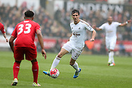Jack Cork of Swansea city in action.Barclays Premier league match, Swansea city v Liverpool  at the Liberty Stadium in Swansea, South Wales on Sunday 1st May 2016.<br /> pic by  Andrew Orchard, Andrew Orchard sports photography.