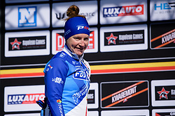 Third place Lauren Kitchen takes to the stage at Le Samyn des Dames 2018 - a 103 km road race on February 27, 2018, from Quaregnon to Dour, Belgium. (Photo by Sean Robinson/Velofocus.com)