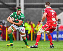 Marco Fuser of Benetton Treviso in action during todays match<br /> <br /> Photographer Craig Thomas/Replay Images<br /> <br /> Guinness PRO14 Round 3 - Scarlets v Benetton Treviso - Saturday 15th September 2018 - Parc Y Scarlets - Llanelli<br /> <br /> World Copyright © Replay Images . All rights reserved. info@replayimages.co.uk - http://replayimages.co.uk