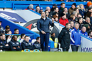 Roberto Martínez, the Everton manager shouting instructions to his players from the touchline. Barclays Premier league match, Chelsea v Everton at Stamford Bridge in London on Saturday 16th January 2016.<br /> pic by John Patrick Fletcher, Andrew Orchard sports photography.