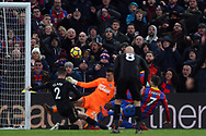 Yohan Cabaye of Crystal Palace's (R) has a shot at goal saved by Karl Darlow , the goalkeeper of Newcastle United (c).  Premier League match, Crystal Palace v Newcastle Uutd at Selhurst Park in London on Sunday 4th February 2018. pic by Steffan Bowen, Andrew Orchard sports photography.