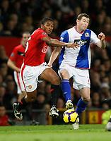 Photo: Steve Bond/Richard Lane Photography. Manchester United v Blackburn Rovers. Barclays Premiership 2009/10. 31/10/2009. Antonio Valencia (L) brushes paset Brett Emerton