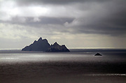 Light and shade illuminates  The Skelligs Rocks, seven miles off the Kerry coast with the little Lemon Rock on right.<br /> Picture by Don MacMonagle